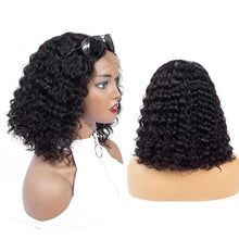 Load image into Gallery viewer, Deep Wave Bob Lace Front Human Hair Wigs 13x4 Pre plucked Curly Bob Wig Brazilian Virgin Hair Wigs Middle Part