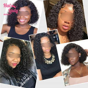 Peruvian Deep Curly Bob Lace Front Wig Short Bob Human Hair Wigs 13x4 Pre plucke For Black Women Mid Part - Halo Lady Hair