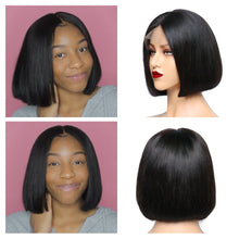 Load image into Gallery viewer, Short Bob Lace Front Wigs Brazilian Straight Bob Wig Human Hair 13x4 Preplucked 150% Halo Lady Hair - Halo Lady Hair