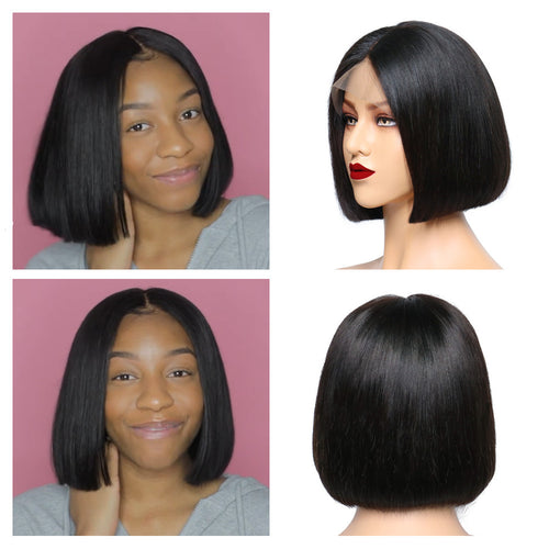 150% Glueless Long Bob Lace Front Wigs 13x4 Pre plucked Malaysian Straight Bob Wig Human Hair