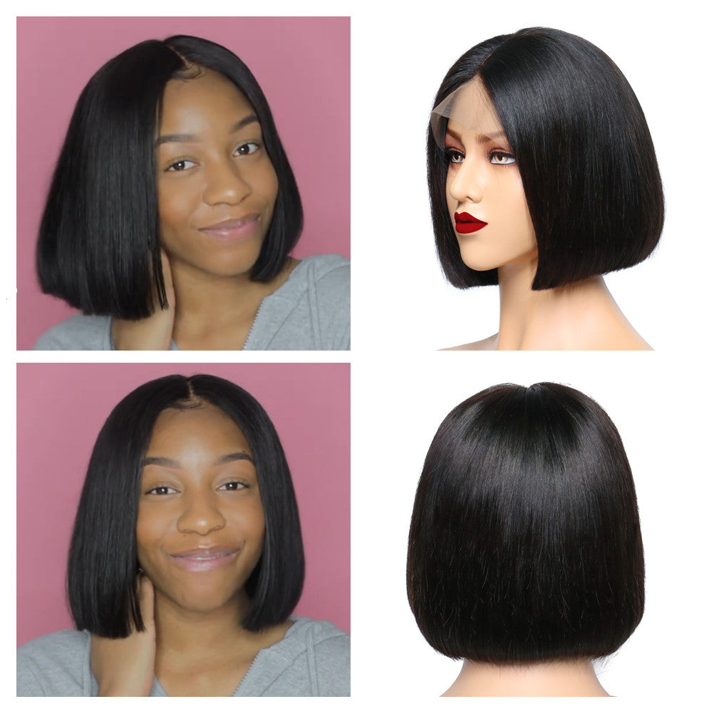 Short Bob Lace Front Wigs Brazilian Straight Bob Wig Human Hair 13x4 Preplucked 150% Halo Lady Hair - Halo Lady Hair