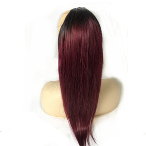 Halo Lady Beauty 1B Bug Straight Drawstring Ponytail Human Hair Two Tone Ombre Color Burgundy Brazilian Hair Extensions Non-Remy