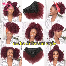 Load image into Gallery viewer, Halo Lady 8Pcs Set Thick Afro Kinky Curly Clip ins Hairpiece Hair Extensions Red 1b 99j Ombre Brazilian Remy Full Clips Ins Hair