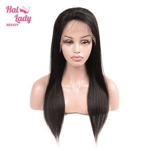 Halo Lady Lace Front Human Hair Wig 13x4 Brazilian Virgin Straight Full Lace Wigs 180% 250% Density