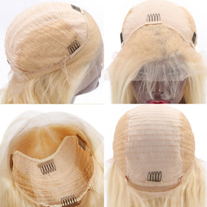 613 Blonde Bob Wig Brazilian Virgin Human Hair Lace Front Wigs 13x4  Virgin Hair Wigs - Halo Lady Hair