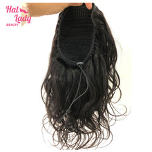 Load image into Gallery viewer, Halo Lady Beauty Body Wave Drawstring Ponytail Human Hair Brazilian Clip In Long Hair Extensions Virgin Hair Ponytail For Women