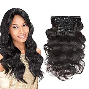 Halo Lady Beauty Body Wave Clip in Human Hair Real Hair Extensions Double Weft 120g 8 Pieces Clip in Hair Brazilian Virgin Hair