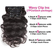 Load image into Gallery viewer, Halo Lady Beauty Body Wave Clip in Human Hair Real Hair Extensions Double Weft 120g 8 Pieces Clip in Hair Brazilian Virgin Hair