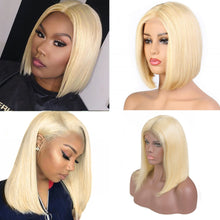 Load image into Gallery viewer, 613 Blonde Bob Wig Brazilian Virgin Human Hair Lace Front Wigs 13x4  Virgin Hair Wigs - Halo Lady Hair