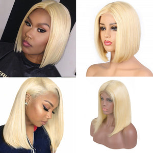 613 Blonde Bob Wig Brazilian Virgin Human Hair Lace Front Wigs 13x4 Pre plucked Virgin Hair Wigs
