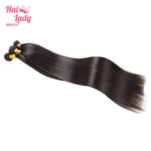 32 34 36 38 40 Inches Peruvian Straight Virgin Hair Weaves 100% Unprocessed Human Hair Extensions - Halo Lady Hair