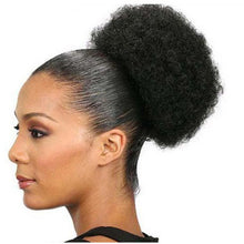 Load image into Gallery viewer, 100 Real Human Hair UpdoDrawstring Ponytail Clip In Afro Puff Short Afro Kinky Curly Chignon Bun Extension Hairpieces Halo Lady