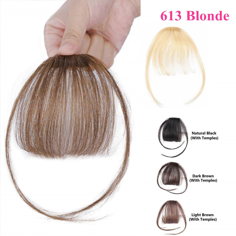 613 Blonde Clip-in Bangs Human Hair Flat Air Fringe Bangs Invisible Brazilian Hair Pieces Replacement alipearl Hair Wig - Halo Lady Hair