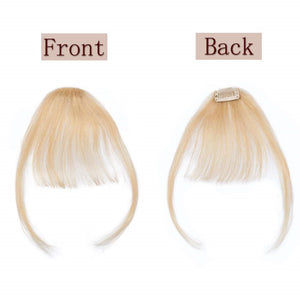 613 Blonde Clip-in Bangs Human Hair Flat Air Fringe Bangs Invisible Brazilian Hair Pieces Replacement  Hair Wig - Halo Lady Hair