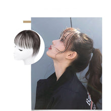 Load image into Gallery viewer, 360 Invisible Human Hair Bangs Clip In Air Fringe Bangs Virgin Hair Pieces Can Be Dyed Brown Natural Color alipear - Halo Lady Hair