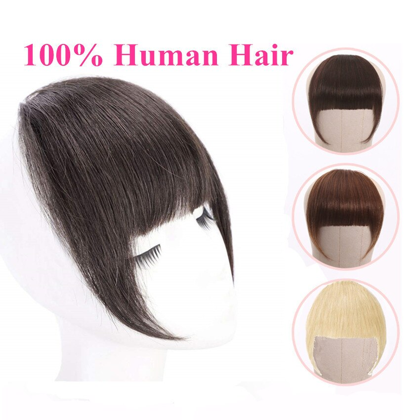 Full Blunt Bangs Clip In Human Hair Extension Clip-In Fringe Hair Bangs  613 Blonde Neat Bangs - Halo Lady Hair