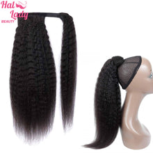 Load image into Gallery viewer, Kinky Straight Brazilian Human Hair Wrap Around Ponytail Clip in Pony Tail Extensions Brazilian Remy Yaki Hair