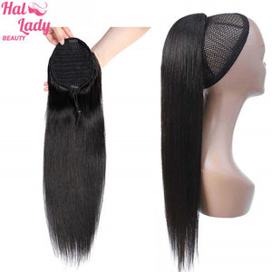Halo Lady Beauty Straight Drawstring Ponytail Human Hair Brazilian Clip In Hair Extensions 1 Piece Remy Drawstring Ponytail 26""