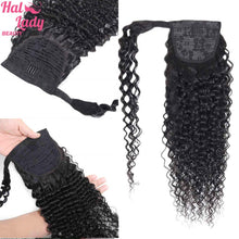 Load image into Gallery viewer, Halo Lady Beauty Curly Brazilian Human Hair Wrap Around Ponytail Clip-in Pony Tail Extensions Remy Afro Kinky Curly Hair Pieces
