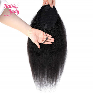 Halo Lady Drawstring Ponytail Afro Kinky Straight Human Hair Non-Remy Indian Yaki Hair Extensions Pony Tail For African American