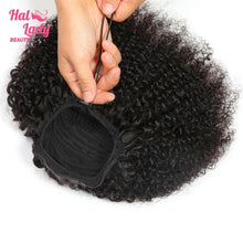 Load image into Gallery viewer, Drawstring Afro Kinky Curly Ponytail Human Hair Non-Remy Indian Virgin Hair Extensions Pony Tail For African American