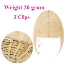 Load image into Gallery viewer, Halo Lady Beauty Brazilian Human Hair Blunt Bangs Clip In Human Hair Extension Non-Remy Clip-In Fringe Hair Bangs 613 Neat Bang