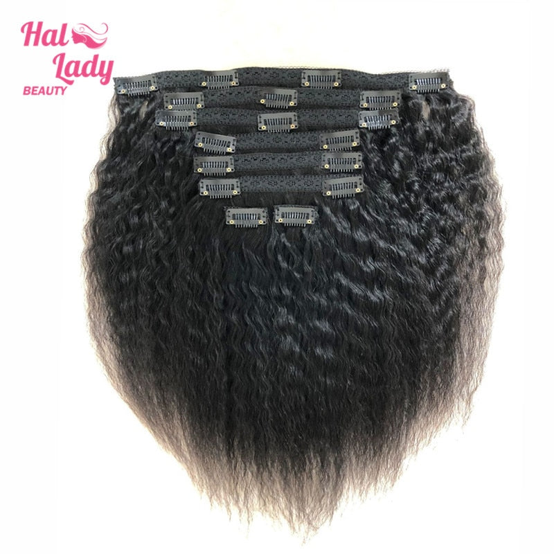 Halo Lady Double Weft 100% Remy Human Hair Full Head Afro Kinky Straight Brazilian Clip ins Extensions 8pcs 17clips Yaki Hair