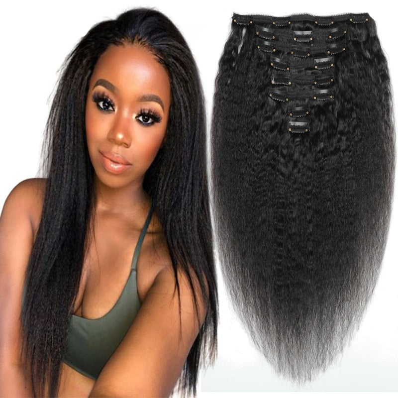 Double Weft 100% Remy Human Hair Full Head Afro Kinky Straight Brazilian Clip ins Extensions 8pcs 17clips Yaki Hair