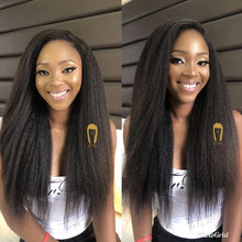Load image into Gallery viewer, Double Weft 100% Remy Human Hair Full Head Afro Kinky Straight Brazilian Clip ins Extensions 8pcs 17clips Yaki Hair