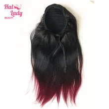Load image into Gallery viewer, 1B Bug Straight Drawstring Ponytail Human Hair Two Tone Ombre Color Burgundy Brazilian Hair Extensions