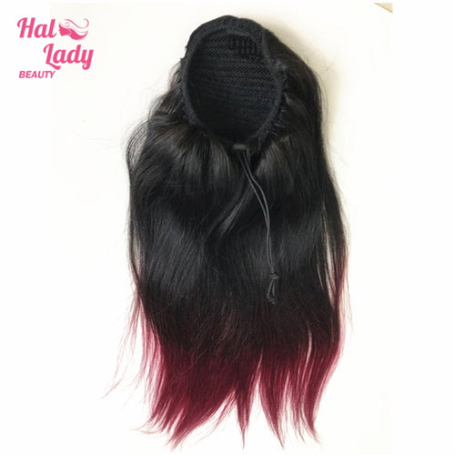 1B Bug Straight Drawstring Ponytail Human Hair Two Tone Ombre Color Burgundy Brazilian Hair Extensions