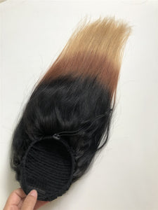 1B 27 Straight Drawstring Ponytail Human Hair Two Tone Ombre Color # 27 Brazilian Hair Extensions Non-Remy