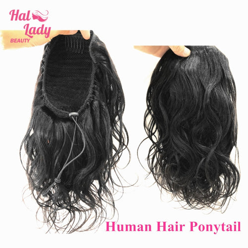 Halo Lady Beauty Body Wave Drawstring Ponytail Human Hair Brazilian Clip In Long Hair Extensions Virgin Hair Ponytail For Women