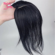 Load image into Gallery viewer, Clip In Human Hair Bangs Mid part Fringe Hair Pieces Brazilian Straight Remy Hair Toupees Toppers For Hair Loss