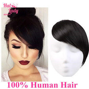 Halo Lady Beauty Clip in Hair Bangs Fringe Hair Extensions Full Sweeping Side Hairpiece Hair Piece Brazilian Non-remy Human Hair