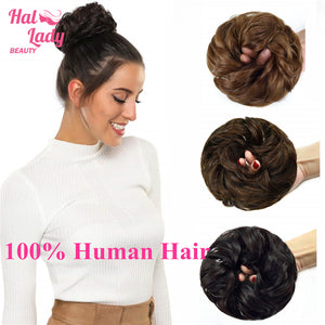 Halo Lady Beauty 100% Real Human Hair Bun Extensions Updo Peruvian Curly Messy Donut Chignons Hair Piece Wig Non-remy Hairpiece