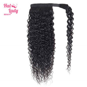 Halo Lady Beauty Curly Brazilian Human Hair Wrap Around Ponytail Clip-in Pony Tail Extensions Remy Afro Kinky Curly Hair Pieces