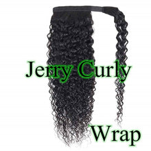 Load image into Gallery viewer, Halo Lady Beauty Kinky Straight Brazilian Human Hair Wrap Around Ponytail Clip in Pony Tail Extensions Brazilian Remy Yaki Hair