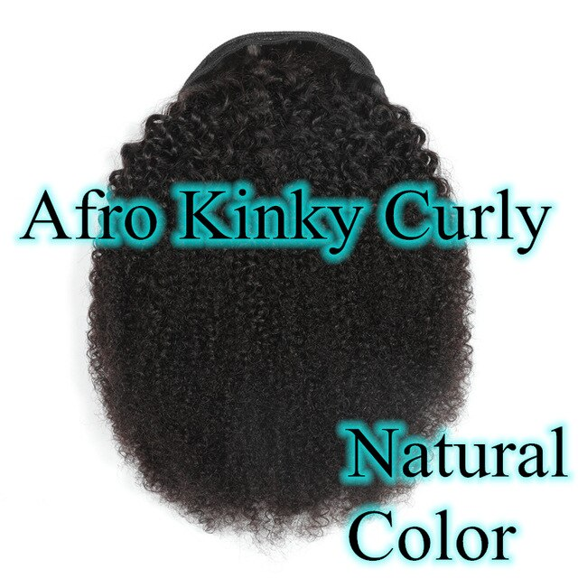 Halo Lady #4 Dark Brown Drawstring Afro Kinky Curly Ponytail Human Hair Non-Remy Indian Hair Extensions For African American