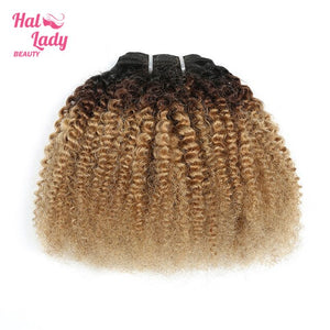 Halo Lady Beauty Short Afro Kinky Curly Human Hair Extensions Ombre Colored 1B/4/27 Indian Remy Hair Weaves For African Women
