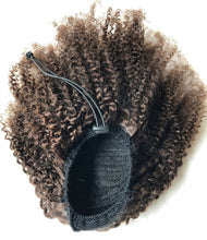 Load image into Gallery viewer, Halo Lady #2 Dark Brown Drawstring Afro Kinky Curly Ponytail Human Hair Non-Remy Indian Hair Extensions For African American