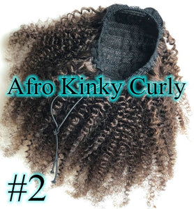 Halo Lady #2 Dark Brown Drawstring Afro Kinky Curly Ponytail Human Hair Non-Remy Indian Hair Extensions For African American