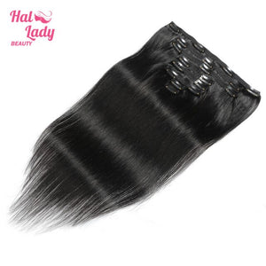 Halo Lady Beauty Brazilian Non-remy Hair Extensions #4 Dark Brown Clip ins Straight 8 PCS Set Thick Hairpiece 120g 8 Pieces Lot