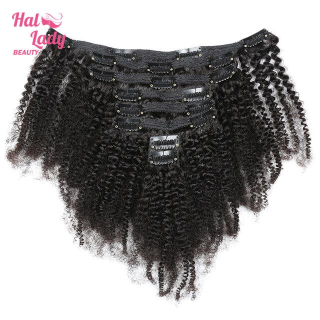 Halo Lady Beauty Hair Extensions Afro Kinky Curly Clip ins Human Hair Double Weft 120g 8 Pcs Full Clips In Hair Indian Remy Hair