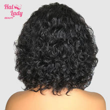Load image into Gallery viewer, Deep Wave Bob Lace Front Human Hair Wigs 13x4 Pre plucked Curly Bob Wig Brazilian Virgin Hair Wigs Middle Part - Halo Lady Hair