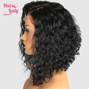 Deep Wave Bob Lace Front Human Hair Wigs 13x4 Pre plucked Curly Bob Wig Brazilian Virgin Hair Wigs Middle Part - Halo Lady Hair