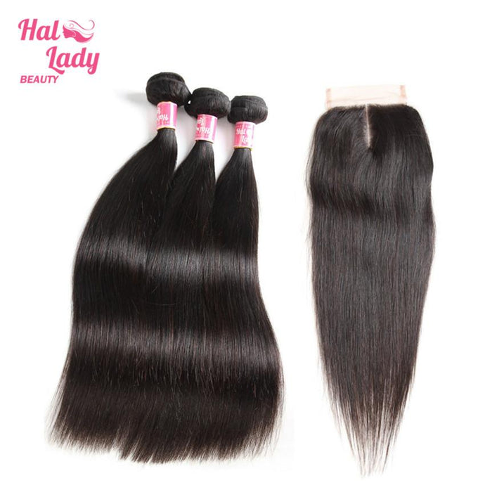 3 Bundles Brazilian Straight Virgin Hair with Middle Part Closure Halo Lady Human Hair