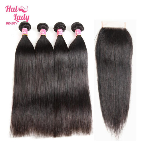 4Pcs Brazilian Human Hair Bundles With Closure Preplucked Halo Lady Straight Virgin Hair Weaves