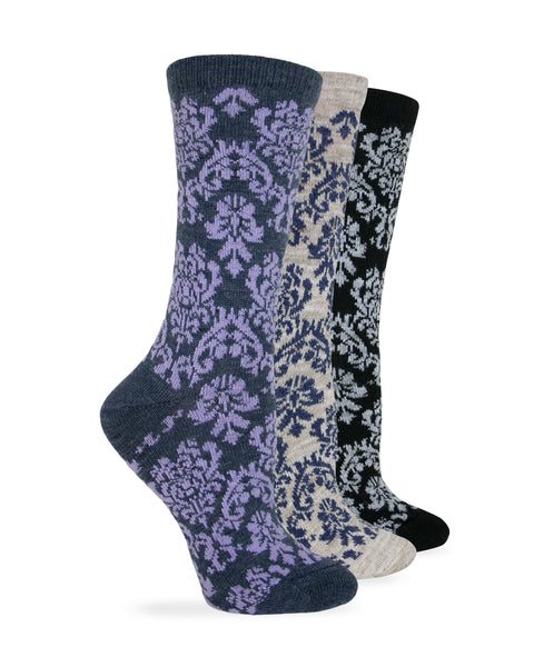 Wise Blend Ladies Merino Wool Blend Damask Pattern Crew Socks 1 Pair