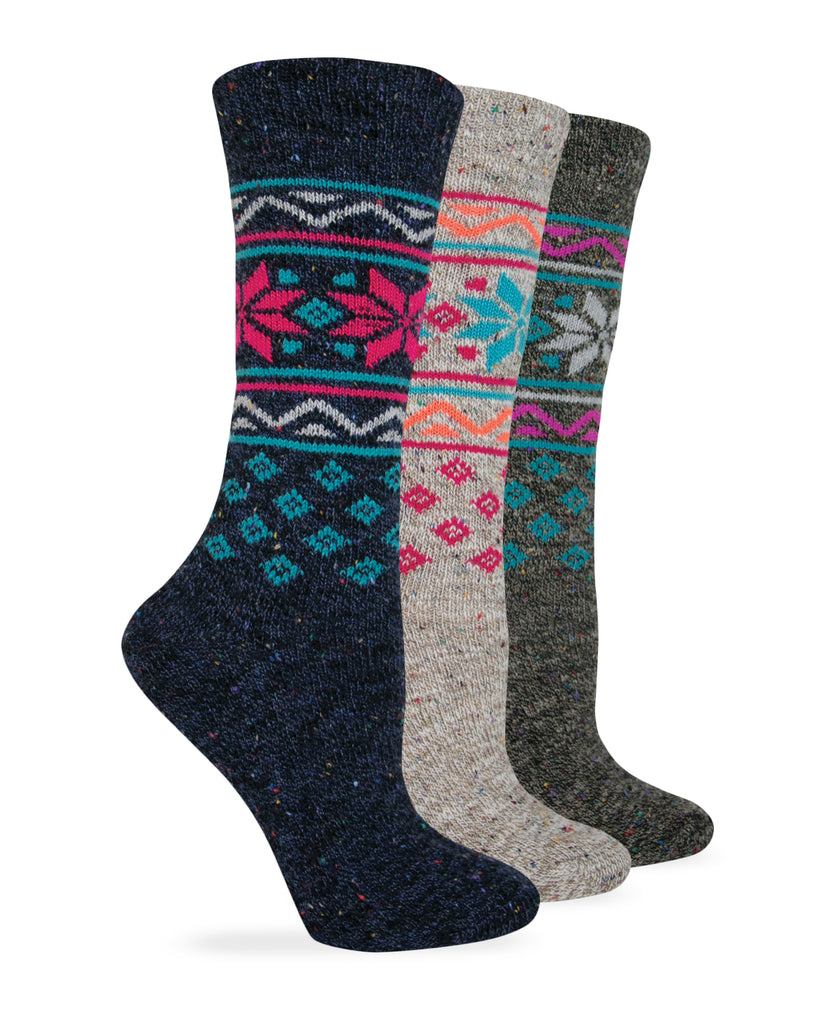 Wise Blend Ladies Wintry Mix Comfy Crew Socks 1 Pair Pack